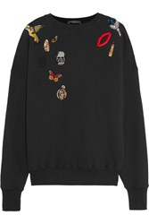 Alexander Mcqueen Appliqued Cotton Jersey Sweatshirt Black