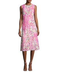 Monique Lhuillier Sleeveless Neon Lace Cocktail Dress Pink