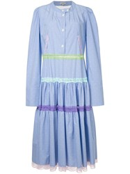 Natasha Zinko Pleated Shirt Dress Cotton Blue