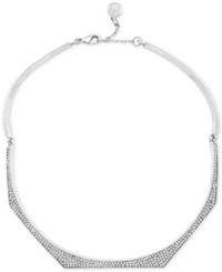 Vince Camuto Silver Tone Pave Collar Necklace