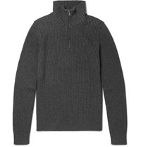 Dolce And Gabbana Slim Fit Ribbed Wool Half Zip Sweater Charcoal