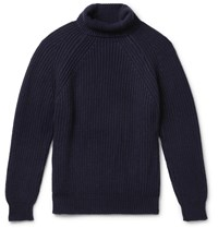 Anderson And Sheppard Ribbed Merino Wool Rollneck Sweater Blue