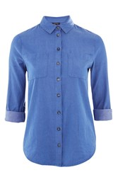 Topshop Vine Floral Embroidered Chambray Shirt Blue