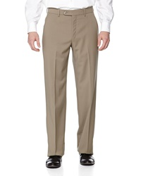 Neiman Marcus Flat Front Wool Pants British Tan