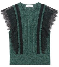 Valentino Cotton Sweater With Lace Green