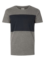 Selected Homme Dark Grey And Navy Panelled T Shirt