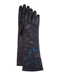 Valentino Napa Leather Butterfly Embroidered Gloves Marine