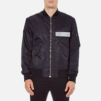 Msgm Men's Bomber Jacket With Reflective Strip Black