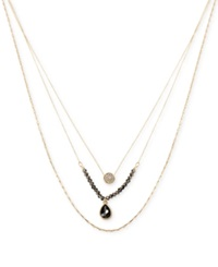 Kenneth Cole New York Gold Tone Black Teardrop And Pave Circle Three Row Necklace