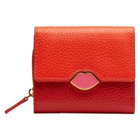 Lulu Guinness Lipstick Lock Grainy Leather Purse Orange Red