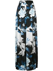 Off White Floral Palazzo Pants Black