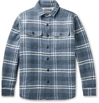 Faherty Faux Shearling Lined Checked Cotton And Wool Shirt Jacket Blue