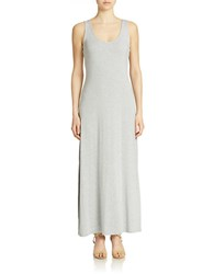 Lord And Taylor Solid Jersey Maxi Dress Pale Grey