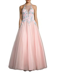 Basix Ii Floral Embellished Ball Gown Pink