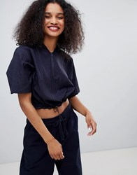 Monki Cropped Hoodie Dark Blue
