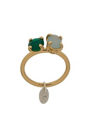 Wouters And Hendrix Green Agate Aquamarine Ring Gold
