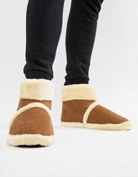 Dunlop Sheepskin Boot Slipper Tan
