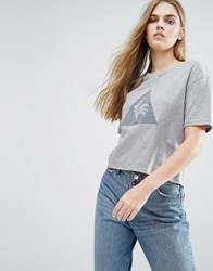 Le Coq Sportif Cropped T Shirt With Large Logo Grey