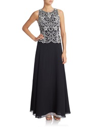 J Kara Petite Beaded Chiffon Gown And Shawl Black White Silver