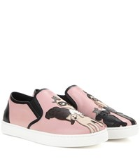 Dolce And Gabbana Leather Slip On Sneakers Pink