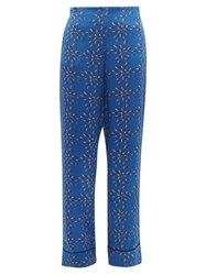 Asceno Abstract Print Silk Pyjama Trousers Blue Multi