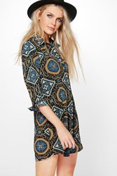 Boohoo Ingrid Paisley Shirt Dress Multi