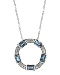 Elizabeth Showers London Blue Topaz Pendant Necklace Women's