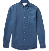 Our Legacy 1950S Button Down Collar Linen And Cotton Blend Shirt Blue