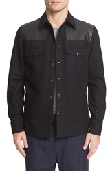 Rag And Bone Men's Key Wool Leather Shirt Jacket