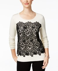 Charter Club Petite Lace Front Sweater Only At Macy's Vintage Cream Combo