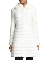 Moncler Quilted Cashmere Blend Puffer Coat W Mink Fur Collar White