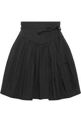 Marc Jacobs Belted Gathered Stretch Cotton Poplin Mini Skirt Black