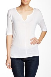 Kersh And Press Elbow Length Sleeve Split Neck Tee White