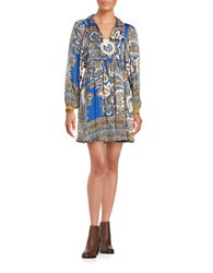 Free People Say U Luv Me Long Sleeve A Line Peasant Dress Blue Combo