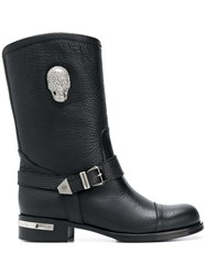 Philipp Plein Skull Light High Ankle Boots Black