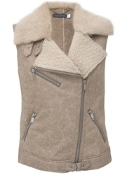 Mint Velvet Ecru Faux Fur Buckle Gilet Natural