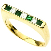 Turner And Leveridge 1990S 18Ct Gold Princess Cut Emerald And Diamond Ring