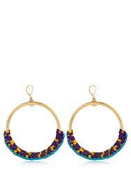 Missoni Iconic Chain Braided Hoop Earrings Gold Yellow