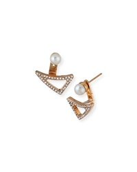 Vita Fede Leaf Crystal And Pearl Jacket Earrings