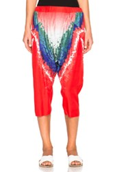 Baja East Tie Dye Print Satin Trousers In Red Abstract