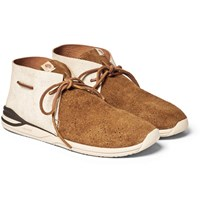 Visvim Huron Leather And Suede Sneakers Tan