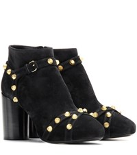 Balenciaga Embellished Suede Ankle Boots Black