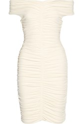 The Row Hali Off Shoulder Ruched Stretch Crepe Dress Cream