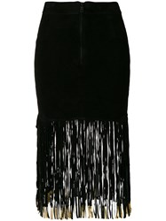 Giorgio Brato Fitted Skirt With Long Fringe Black