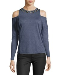 Free Generation Long Sleeve Cold Shoulder Embellished Top Blue