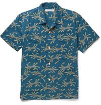 Outerknown Camp Collar Printed Organic Cotton Shirt Navy