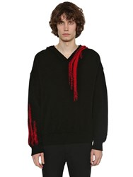Ann Demeulemeester V Neck Alpaca And Mohair Knit Hoodie Black