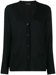 Roberto Collina Relaxed Fit V Neck Cardigan Black