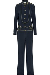 Balmain Pierre Washed Silk Jumpsuit Navy