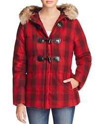 Pendleton Newport Plaid Toggle Puffer Coat Red Ombre
